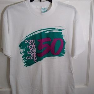 Vintage graphic tee single stitch 50 age joke bday